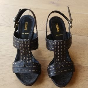 Fendi dark brown heel sandals - EXCELLENT COND!